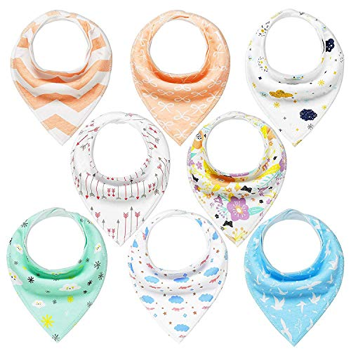 Baby Bandana Drool Bibs Unisex 8 Pack Gift Set for Teething and Drooling, 100% Organic Cotton, Soft and Absorbent for Girls Boys by YOOFOSS
