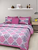 UHF 144 TC Cotton Double Bedsheet with 2 Pillow Covers - Pink White