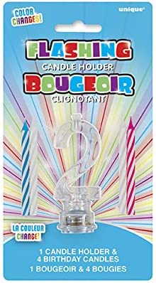 Multicolor Flashing Number 2 Cake Topper Birthday Candle Set 5pc