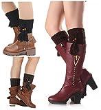 Santwo Women Winter Warm Crochet Knitted Boot Cuff Sock Short Leg Warmer 3 Pairs (Model 2)
