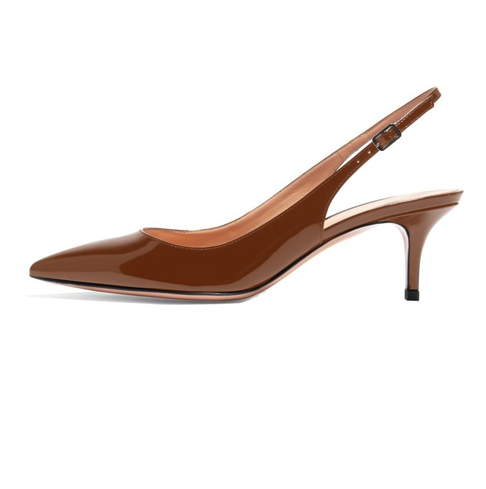 Sammitop Women's Pointed Toe Slingback Shoes Kitten Heel Pumps Comfortable Dress Shoes B07D9LR5BS 5 B(M) US|Brown