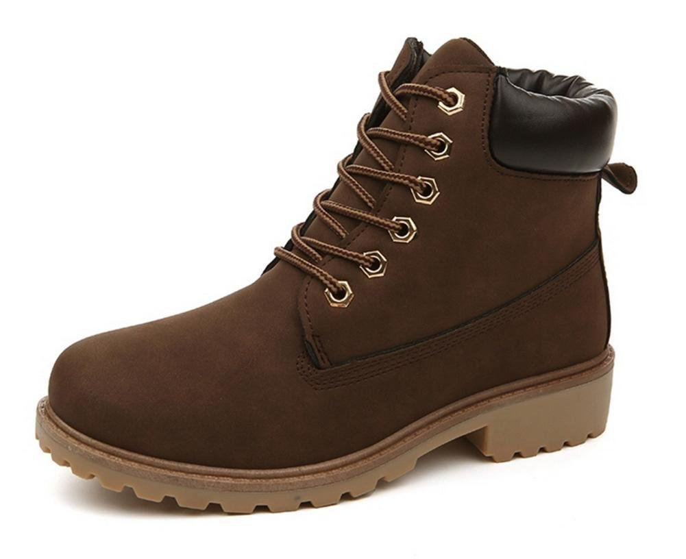 Maybest Unisex Short Combat Chelsea Retro Lace up Martin Ankle High Tops Boots Work Hiking Trail Biker Shoes Brown 5 B (M) US