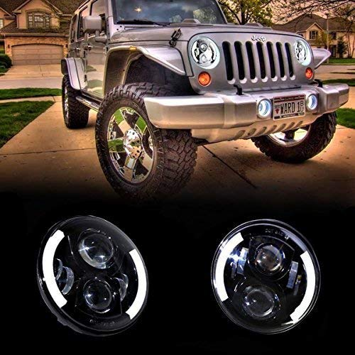 7 Inch 50W Round CREE LED Headlights Driving Lights With White DRL Amber Turn Signal for 97-16 Jeep Wrangler Jk Tj (Pack of 2) Lantsun