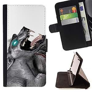 BullDog Case - FOR/Samsung Galaxy A3 / - / Glowing Werewolf /- Monedero de cuero de la PU Llevar cubierta de la caja con el ID Credit Card Slots Flip funda de cuer