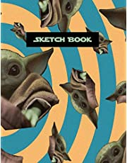 Sketch Book: Practice Drawing, Write, Doodle, 8.5 x 11 Large Blank Pages: Notes, Sketching Pad, Creative Diary and Journal (Baby Yoda Cover) for men women girls boys teens friends family kids children