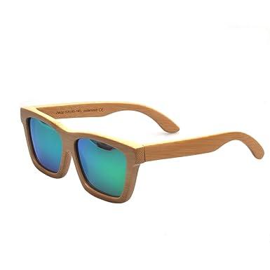Artesanal de bambú natural Marcos polarizado lente verde gafas de sol de madera