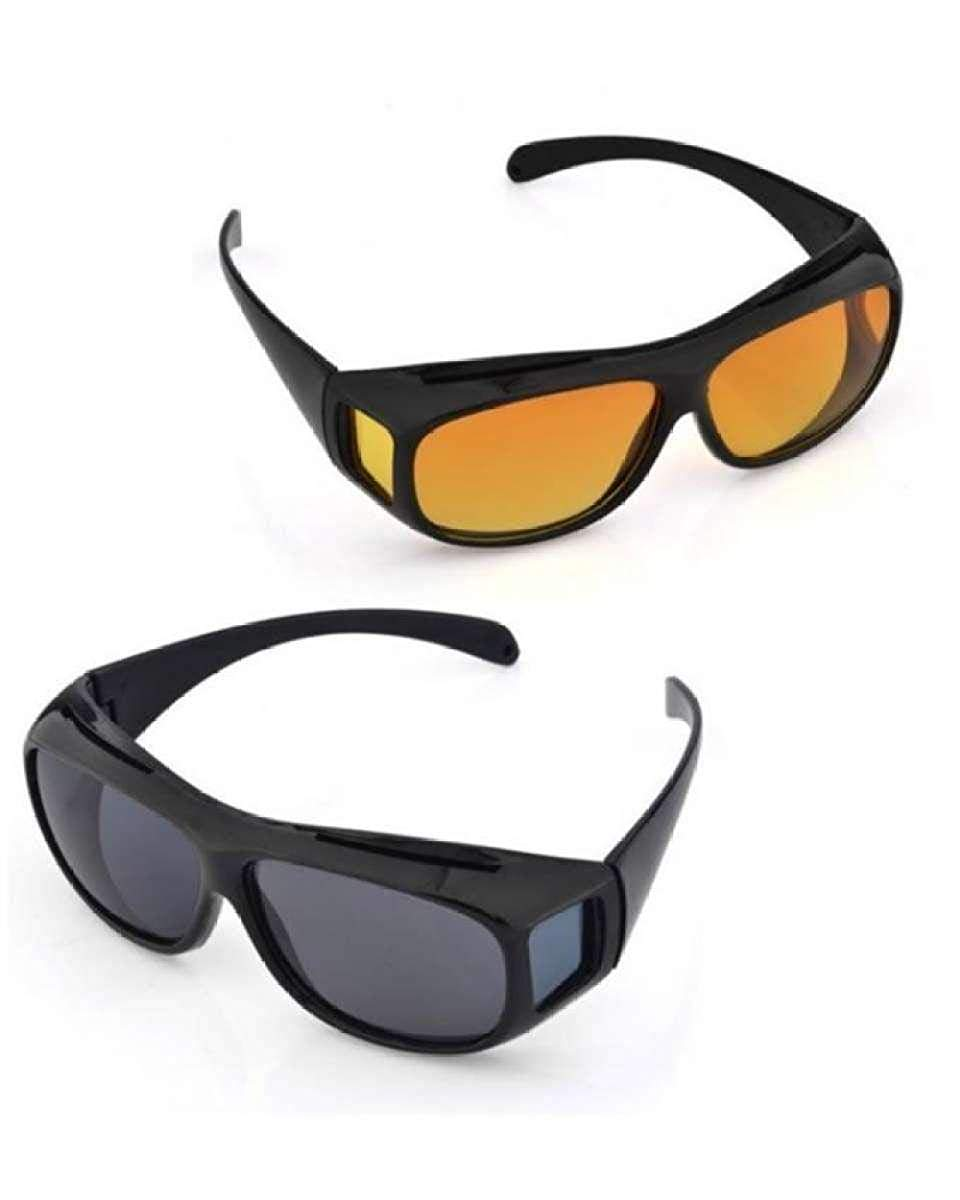 2 PACK HD Night Day Vision Driving Wrap Around Anti Glare Sunglasses with Polarized Lens for Man and Women