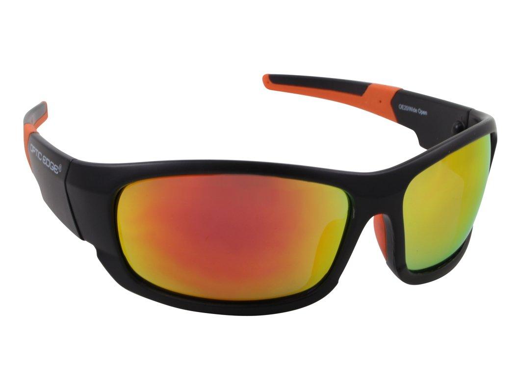 Amazon.com: Optic Edge Framed Wide Open Sunglasses, Black, Blue ...