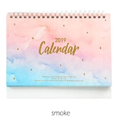 2019 New Kawaii Dream Sunset Smoke Sea Calendar Coil Schedule Creative Desk Table Dates Reminder Timetable Planner Gift (Smoke)