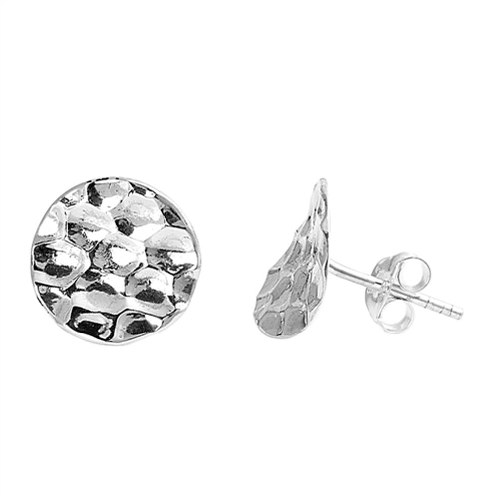 Flat Honeycomb Stamped Circle Patterned .925 Sterling Silver Textured Stud Earrings