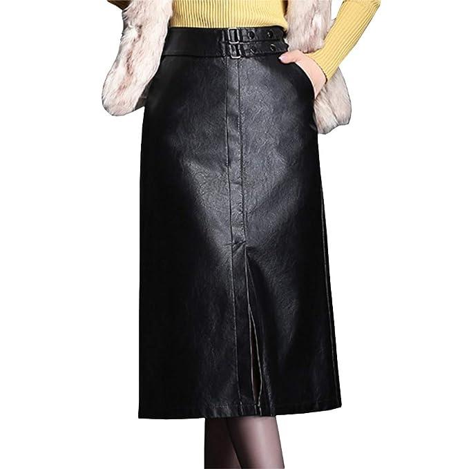 E-Girl ED1071 - Falda de tulipán para Mujer, de Piel sintética ...