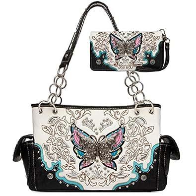 Western 3D Colorful Rhinestone Butterfly Shoulder Bag Women Top Handle Totes Handbags Wallet Set (Black)