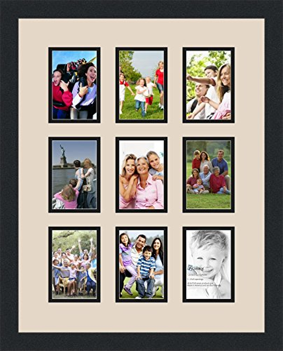 Art to Frames Double-Multimat-1045-825/89-FRBW26079 Collage Photo Frame Double Mat with 9 - 3.5x5 Openings and Satin Black Frame (Frames Christmas Collage)
