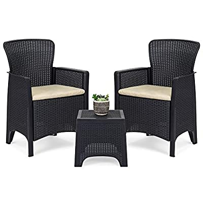 Best Choice Products 3-Piece Weather Resistant Patio Bistro Conversation Furniture Set w/Side Table, 2 Armchairs -Black