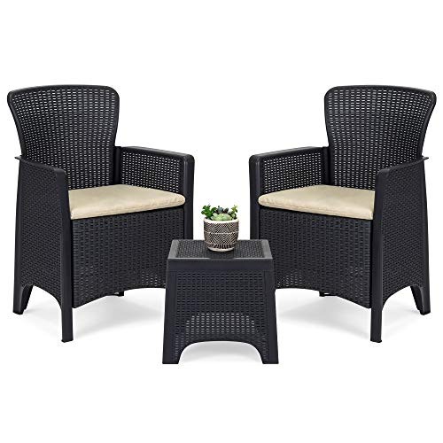 Best Choice Products 3-Piece Weather-Resistant Resin Patio Bistro Conversation Furniture Set w/Side Table, 2 Armchairs