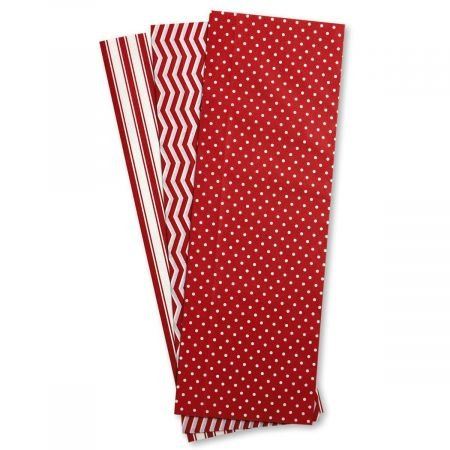 Christmas Red & White Dots and Stripes Tissue Sheets – Set of 18 Sheets, 20″ x 20″, 3 Designs
