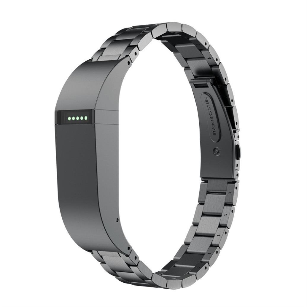 Hot sale!!!Siviki Stainless Steel Strap Wrist Band Replacement Bracelet For Fitbit Flex (Black)