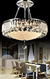 DST Luxury Round Clearing Crystal Droplets Flush Mount LED Chandelier Ceiling Light Fixture Pendant Lamp for Dining Room Bedroom Livingroom