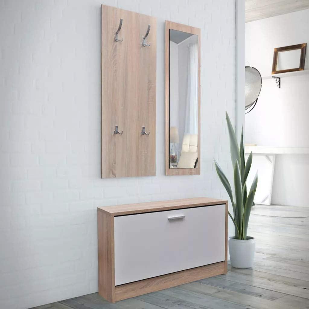 Scaffale Mensola Organizzatore per Casa Ingresso SOULONG Set di 3 Pezzi Specchio Scarpiera Appendiabiti da Parete Specchio e Scarpiera 3 in 1 Aspetto Legno Naturale