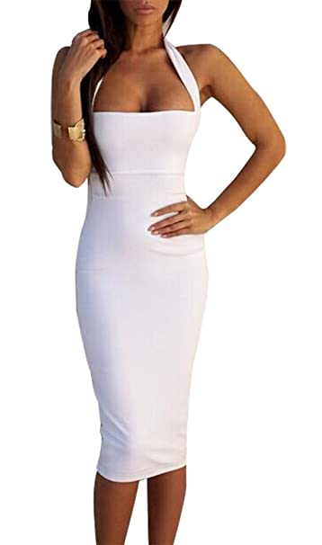 ecf71e51c91 BomDeals Women s Sexy Sleeveless Bodycon Midi Bandage Party Evening Dress  (L