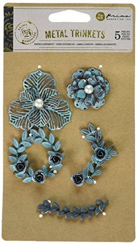 Metal Art Embellishments - Prima Marketing 655350584924 Metal Patina Trinkets Flowers and Vines Scrapbooking Embellishments