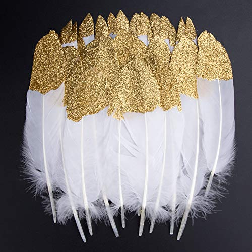 Feathers for Crafts, 40 Pcs Goose Gold Dipped Natural White Feathers for DIY Dream Catchers Craft Wedding Themed Party Centerpieces Decorations(Glold)