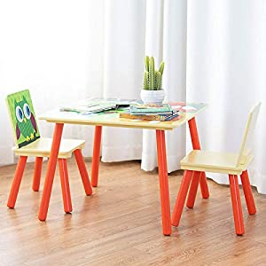 Costzon Kids Table and 2 Chairs Set, Table Furniture for Toddler, Activity Table Desk Sets