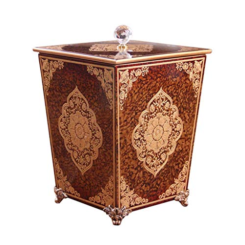 CSQ Creative Wooden Trash Can, Villa Living Room Rural Trash Can with Lid Hand-Painted Pattern Barrel 242431CM Indoor (Color : A, Size : 242431CM) by Outdoor trash can