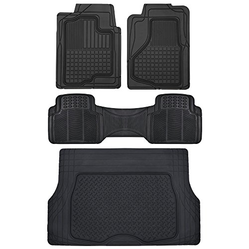 Motor Trend All Weather Semi-Custom Heavy Duty Rubber Floor Mats for Auto Car Truck SUV … (2 Front, 1 Liner & Cargo Mat) - Custom Floor Liners