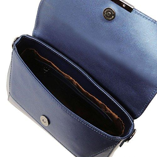 Tuscany Leather TL Bag Bolso noche en piel Ruga Bronceado Bolsos con asas Azul oscuro