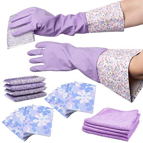 25pc Smart Home Purple Mega Cleaning Set – Sponges, Microfiber Cloths, Gloves