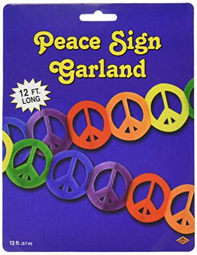 Beistle 57669 1-Pack Peace Sign Garland, 5-3/4-Inch by 12-Feet ()