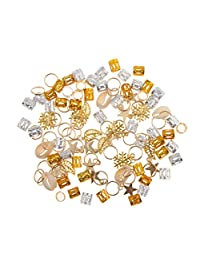 MonkeyJack 84pcs Dreadlock Shell Hair Ring Braid Rings Hair Pins Loops Hair Accessory Silver Gold