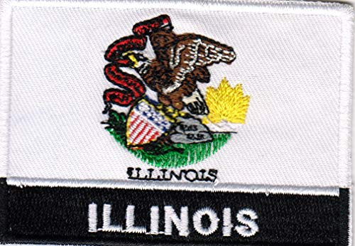 (USA State United States Iron on Flag Patch Heat Seal Multicolor Applique (Illinois IL) )
