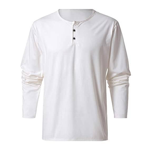 397d68247 Lenfesh Camisetas Botones de diseño Casual para Hombre Camisa de ...