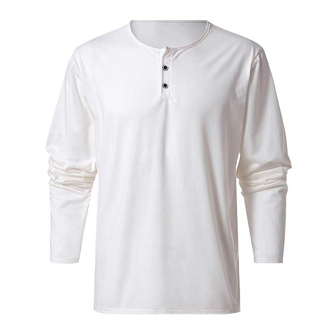 Lenfesh Camisetas Botones de diseño Casual para Hombre Camisa de Manga Larga y Corte Slim Color Sólido Top Blusa: Amazon.es: Ropa y accesorios