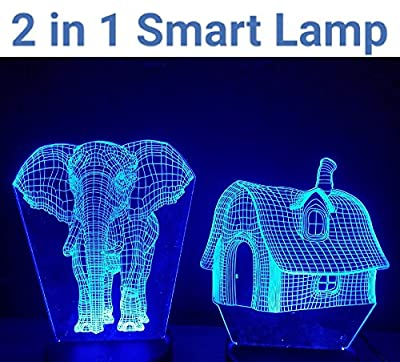 2 in 1 Chamling 3D lamp with Huge Elephant Shape and Swiss Home Shape with 7 different RGB color changing mode. Perfect gift for kids to adult for bedroom,Office ,Living Room