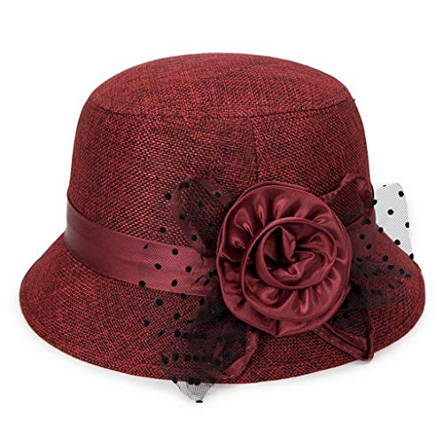 - Women Spring and Summer Linen Sunshade Hat Ladies Sun Cap Red