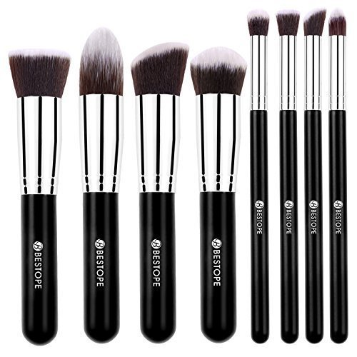 BESTOPE Makeup Brushes 8 Pieces Makeup Brush Set Professional Face Eyeliner Blush Contour Foundation Cosmetic Brushes for Powder Liquid Cream Cosmetic Eye Contour Brush