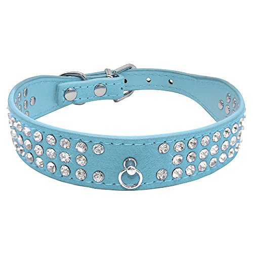 Didog Bling Bling Rhinestone Dog Collar for Small Medium Dogs - Soft Suede Leather Pretty Puppy Collars,Blue L Size ()