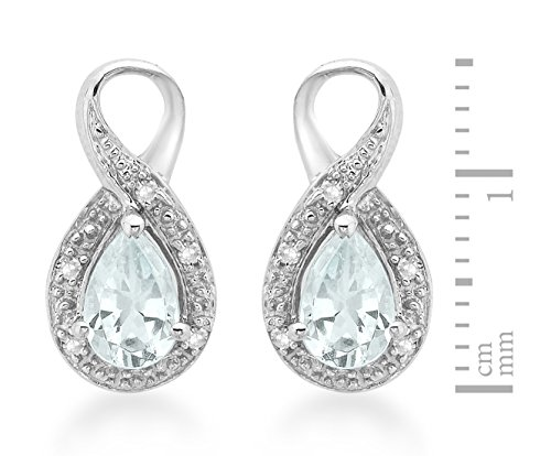 Carissima Gold - Boucles d'oreille - Femme - Or blanc (9 cts) 1.4 Gr - Aigue Marine - Diamant