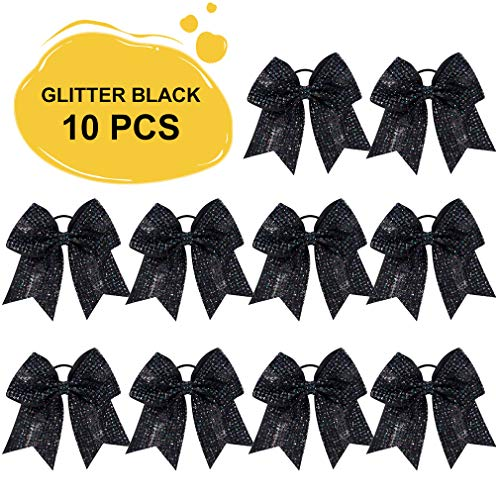 Large Glitter Cheer Bows Ponytail Holder Girls Black Elastic Hair Ties 7