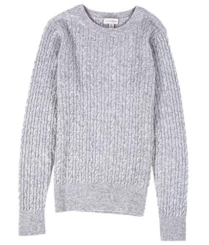 J CASHMERE Women's 100% Cashmere Long Sleeve Pullover Cable Crewneck Sweater (S, Grey)