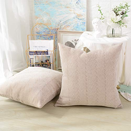 Chenille Square Throw - MERNETTE Pack of 2, Thick Chenille Decorative Square Throw Pillow Cover Cushion Covers Pillowcase, Home Decor Decorations for Sofa Couch Bed Chair 18x18 Inch/45x45 cm (Cream)