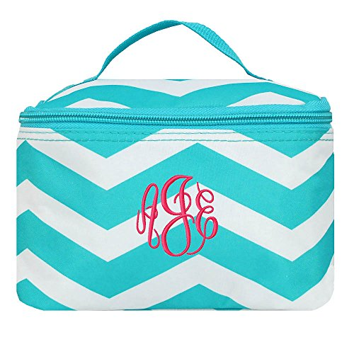 Personalized Small Cosmetic Makup Bags for the Girl on the Go (Aqua Chevron)