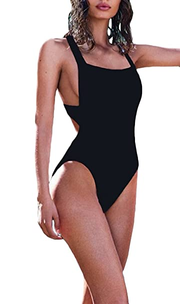 new authentic best authentic men/man Lukitty Women's Sexy One Piece High Cut Backless Bikinis Bathing Suits  Swimsuits