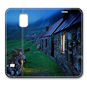 Leather Samsung Galaxy S5 Flip Case, Foggy Countryside Premium Leather Flip Case Cover for Samsung Galaxy S5 / S V / I9600 with Stand Feature/ Auto Wake Up / Sleep, Original Design And Made By PhilipHayes
