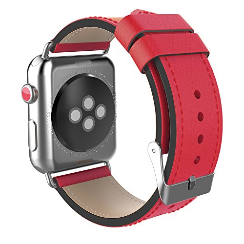 - PLUSEYE for Apple Watch Band Cow Leather Apple Watch Band Double Color Leather Replacement Band for 38/42mm Apple Watch Series 3/2/1/Sport Edition 8colors (Red+black, 38MM)