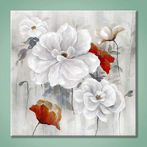 Abstract Flower Picture Wall Art: White Bloom Picture Floral Painting on Canvas