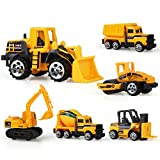 Coolplay Inertia Toy Early Engineering Vehicles Friction Powered Dumper,Bulldozers,Forklift,Tank Truck,Asphalt Car and Excavator for Children Kids Boys and Girls ( Pack of 6)